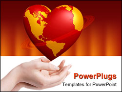 PowerPoint Template - heart world in hands isolated on white background