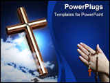 PowerPoint Template - Cross and sky photo with clouds symbolizing faith