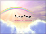 PowerPoint Template - 3d-grahpic of a rainbow, clouds, ocean
