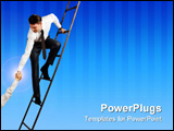 PowerPoint Template - Conceptual image of successful businessman standing on ladder and giving hand to his partner