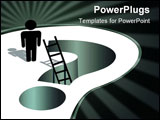 PowerPoint Template - A person stands by a deep question mark hole to ask for help