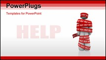 PowerPoint Template - A person is wrapped in red tape marked Help, representing getting caught in a problem or trouble and needing rescue to be freed from the tangled mess