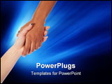 PowerPoint Template - Two female hands reaching and grasping each other for help and support.