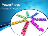 PowerPoint Template - Several words such as Help and Assist in a ring