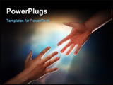 PowerPoint Template - Two male hands; one reaching down to assist another hand reaching up with sunburst in the background