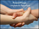 PowerPoint Template - Helping Hands isolated against a blue sky