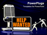 PowerPoint Template - d illustration of a black and orange Help Wanted sign standing in front of a silver old style micro