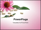PowerPoint Template - loseup of Echinacea extract pills and fresh Echinaceas flowers best suited for alternative medicine