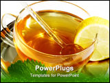 PowerPoint Template - Close-up of mint tea with fresh mint.