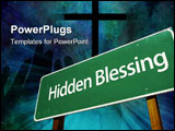 PowerPoint Template - Hidden Blessing Green Road Sign with Dramatic Clouds and Sky.