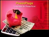 PowerPoint Template - A piggy bank wearing a graduation cap with twenty dollar bills