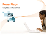 PowerPoint Template - an attractive young black woman using a laptop computer on the floor