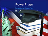 PowerPoint Template - Graduate cap and a stack of study books on an American flag.