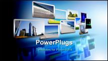 PowerPoint Template - Media stream of high technology and modern television