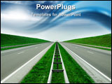 PowerPoint Template - Empty highway blue sky and grass orient sun
