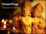 PowerPoint Template -  close-up of an idol of a Hindu God (Krishna) with Radha, His principle devotee, in a small place o