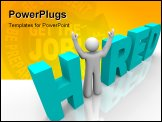 PowerPoint Template - The word Hired with a man standing in place of the i
