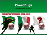 PowerPoint Template - D render of the teams that won the world premier soccer tournament from 2002 to 2010. Flag and ball