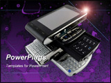 PowerPoint Template - Stack of Several Modern Mobile Phones on Purple Bright Fractal Background