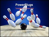 PowerPoint Template - Bowling Game. A bowling ball is knocking the pins down over blue background a 3d image