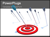 PowerPoint Template - One arrow hits the bulls eye while several others miss the mark