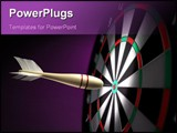 PowerPoint Template - A classic wooden dart stuck on the bullseye of the dartboard