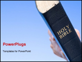 PowerPoint Template - Close up of hand holding Bible over blue sky