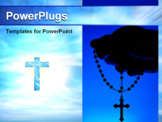 PowerPoint Template - Silhouette of a hand holding rosary over blue background