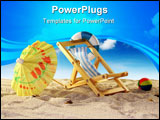 PowerPoint Template - Deck chair and sun umbrella on a sandy beach