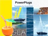 PowerPoint Template - sea waves and yachts during the holiday period