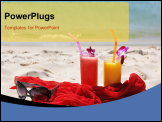 PowerPoint Template - Pair of fruit shakes, red shawl and sunglasses on the beach of Phuket island