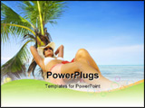 PowerPoint Template - View of nice woman having fun on tropical beach