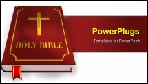 PowerPoint Template - Russian open holy bible with wooden cross on table
