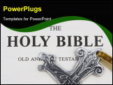 PowerPoint Template - Silver religious cross sitting on a bible