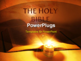 PowerPoint Template - A bible open on a table next to a candle ** Note: Shallow depth of field