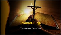 PowerPoint Template - Crucifix in hand near the holy book.