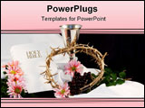 PowerPoint Template - hite bible chalice crown of thorns flowers with room for copy. Can be used during the time of Easte
