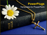 PowerPoint Template - old bible, with gold crucifix and daisy