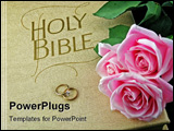 PowerPoint Template - pink roses and wedding rings on the bible