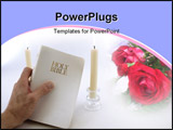 PowerPoint Template -  man hand holds up a white Holy Bible. Two taper candles burn in the background. Over a white backg