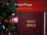 PowerPoint Template - Holy Bible in front of a christmas tree