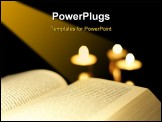 PowerPoint Template - reading a book and copy space on black Shallow depth of field