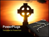 PowerPoint Template - holy cross on a stone and sunset