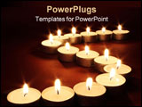 PowerPoint Template - close-up of an arrangement of lit candles on a red background