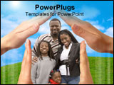 PowerPoint Template - Family Portraits of son and daughter on the Home