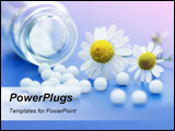 PowerPoint Template - Chamomile flower and homeopathic medication on blue surface