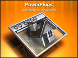 PowerPoint Template - 3d illustration of a simple internet browser with a simple house emerging from the display window
