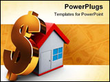 PowerPoint Template - abstract 3d illustration of house and dollar sign