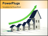 PowerPoint Template - 4D illustration of a graph with home sales going up