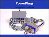 PowerPoint Template - miniature house with lock and chain